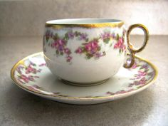 Antique Limoges Elite France Bridal Wreath Cup Saucer Pink Roses Cottage Chic
