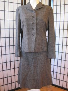 Vintage 1940s 1950s Wool Suit Fitted Jacket Skirt by girlgal6, $58.00