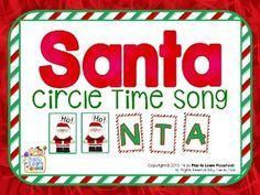 Here's is a fun song for young learners to the tune of BINGO.  The download includes 3 versions of the song, the full-color half-page letter signs, and Santa signs.  This song is just 1 of the terrific Circle Time lessons included in this  Santa - Christmas Centers and Circle Time Unit.
