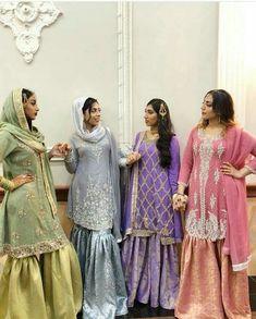 Shaadi Bridesmaid gharara squad goals from . Pakistani Fashion Party Wear, Pakistani Wedding Outfits, Pakistani Couture, Pakistani Dress Design, Pakistani Dresses, Pakistani Gharara, Walima, Indian Bridesmaid Dresses, Desi Wedding Dresses