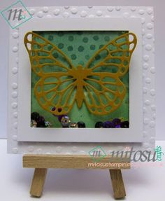 Handmade Shaker Card from our Card Making and Papercraft Class and Basingstoke Craft Group using Butterflies Thinlits by Stampin Up! All current craft supplies by Stampin' Up! are available to order from Mitosu Crafts UK Online Shop