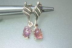 Oval Cabochon Pink Tourmaline Dangle Earrings Sterling Silver by Gemsbygigialonia on Etsy
