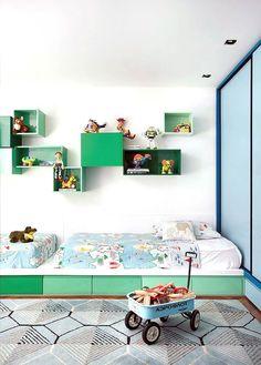 colorful modern shared kid's room, image via Denilson Machada