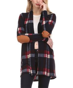 Look at this sun n moon Blue Plaid Elbow-Patch Open Cardigan on #zulily today!