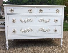 Loving this Simply White Chest with added embellishments by Bellablakely Uptown Vintage Furniture