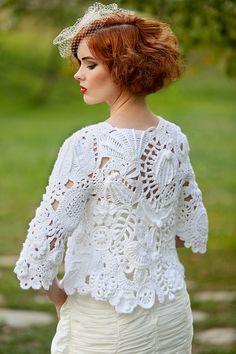 White Freeform Crochet Wedding Bolero /Special Occasion Shrug. $200.00, via Etsy.