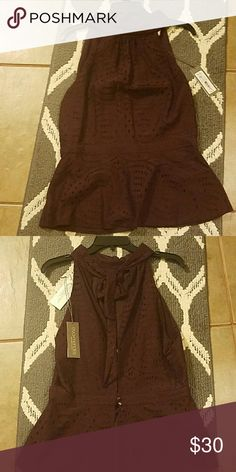 NY and Company Maroon top with tie at back of neck, two buttons down back. New with tags. Beautiful!! N Y and Company Tops Blouses