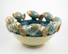 """Italian ceramics centerpiece, basket """"fish""""   Caltagirone Italian ..."""