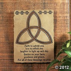 Trinity Knot With Irish Blessing Plaque. This resin plaque features a striking trinity knot design and a beautiful blessing. The plaque reads, Faith to uphold . Celtic Prayer, Irish Prayer, Irish Blessing, Irish Quotes, Irish Sayings, Irish Poems, Craft Font, Irish Toasts, Irish Proverbs