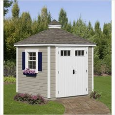 My future garden shed.Offering stylish storage for the yard, this classic shed is crafted from wood and showcases a Colonial-inspired silhouette with 1 window and 2 doors. Cottage Garden Sheds, Garden Shed Kits, Garden Ideas, Cottage Gardens, Garbage Shed, Colonial Garden, Slider Window, Plastic Sheds, Shed Construction
