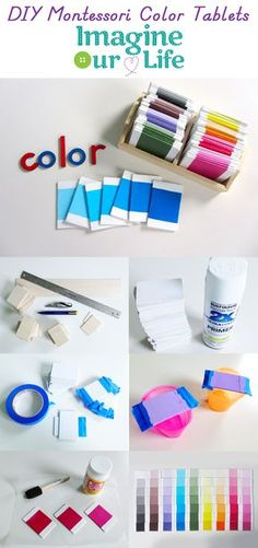 """DIY Montessori Color Tablets- I like thatI dont have to """"steal"""" paint chips for this...I think I'll do most of the sanding BEFORE I cut them and then just have to fix/sand the newly cut edges after cutting..."""