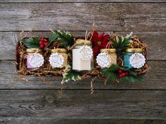 White Christmas Soy Candles Holly Gift Basket von SandyLandStudio