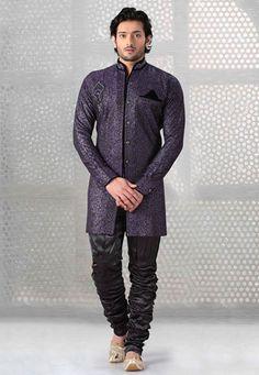 Purple Jacquard Readymade Jodhpuri Suit