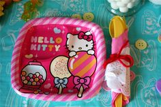 Hello Kitty plates from Target at a Lalaloopsy & Hello Kitty party by dennasideas.com