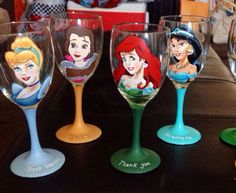 May be one of my next project ventures!  Four Hand Painted Disney Character Wine Glasses by DrawingsByBOBA, $100.00