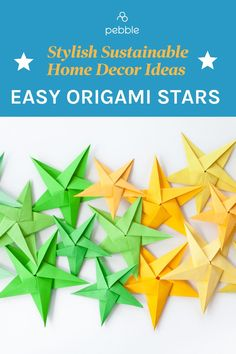 Looking for stylish, DIY craft ideas for the home? These origami stars are super easy and make great eco friendly decorations for any time of year. The perfect low waste, plastic free and sustainable way to decorate your room. Easy Origami Star, How To Make Origami, Origami Stars, Origami Easy, Sustainable Style, Sustainable Living, Eco Friendly Paint, Eco Friendly Fashion, Decorate Your Room