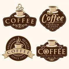 Insignia de café y etiquetas Vector Premium Coffee Shop Business, Coffee Shop Logo, I Love Coffee, My Coffee, Coffee Break, Morning Coffee, Cafe Logos, Coffee Cup Art, Coffee Artwork