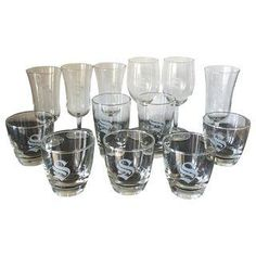 "Monogrammed ""S"" Lowball Champagne Glasses - 13"