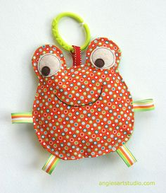 Fred the Frog Crinkle Toy comes with Teething by angiebabygifts, $13.50