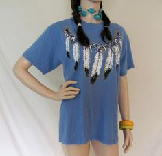 Vintage T Shirt / 80s 90s Native American T by BeatniksVintage