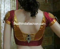 Stylish Blouse Back Neck Pattern for Silk Sarees ~ Celebrity Sarees, Designer Sarees, Bridal Sarees, Latest Blouse Designs 2014