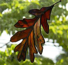 Oak Leaf Sun Catcher Autumn Red by OriskanyGlass on Etsy