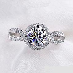 Anelli per le donne 2ct rotonda di pietra CZ diamante brillante placcato oro Bianco anello di nozze anelli Di Fidanzamento monili di modo VSR076