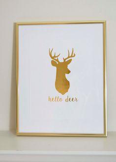 Hello Deer Gold Foil Print Deer Silhouette by OAKYdesigns on Etsy