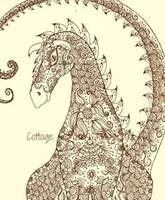 Dragon Art, Henna Dragon Illustration, Fantasy Art, Om Dragon. By Cottagegarden via Etsy.