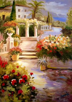 Canvas Oil Painting Mediterranean Landscape on by ArtonlineGallery, $280.00 Art Design, Oil Painting On Canvas, Art Paintings, Landscape Art, Art Pieces, Pasta, Romantic, Gallery, Drawings