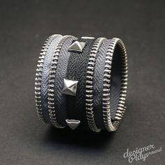 1.5inch Zipper Band Cuff in BLACK and SILVER. $22.00, via Etsy.