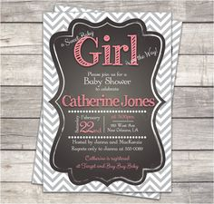 printable baby girl shower invitation, chevron, chalkboard, gray, coral, custom 5x7 or 4x6 digital files on Etsy, $15.00