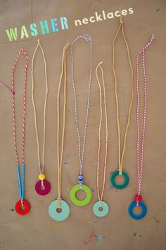 Make necklaces from steel washers from the hardware store. Great craft for teens and tweens.