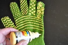Little Birdie Secrets: one-step quilting gloves tutorial -*Pair of snug-fitting gloves--I used an old pair of stretchy winter gloves  *Fabric puff paint