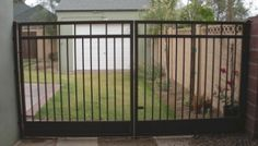 solid and secure driveway double gates Driveway Gate, Fence Gate, Fences, Double Gate, Automatic Gate, Outdoor Living, Outdoor Decor, Backyard Ideas, Wrought Iron