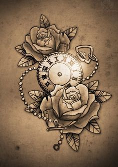 Clock and Roses Tattoo Design, GUIOX,TATTOO KITS SALES ONLINE. Everyone who love tattoo,just flowing me!!!!! This would look amazing in color. The roses white with like a painted red at the tips. Make a perfect Alice in Wonderland tattoo