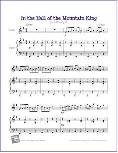In the Hall of the Mountain King by Edvard Grieg | Free Sheet Music for Violin - http://makingmusicfun.net/htm/f_printit_free_printable_sheet_music/in-the-hall-of-the-mountain-king-violin.htm