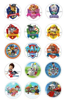 "Paw Patrol - 15 Bottle Cap Images 4X6 Digital INSTANT DOWNLOAD 1"" Circle Jewelry"
