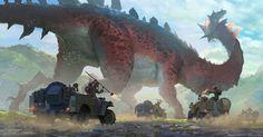 The Art of Alex Konstad - Daily Art Fantasy Creatures, Mythical Creatures, Alien Creatures, Art Quotidien, Concept Art World, Dinosaur Art, Creature Concept, Fantasy Illustration, Creature Design