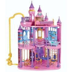 Disney Princess Ultimate Dream Castle (Mattel), ages 3 and up. The castle… Barbie Doll House, Barbie Toys, Barbie Dream, Little Girl Toys, Toys For Girls, Kids Toys, Castle Dollhouse, Frozen Dollhouse, Disney Princess Castle