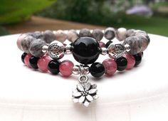 Gray and Pink Bracelet Lotus Flower Bracelet by BlueStoneRiver, $31.95