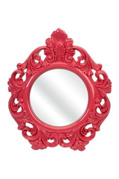 """Finely Pink Baroque Wall Mirror by Imax   Add a pop of color to your room's decor with the Finely Baroque Wall Mirror.  - PU and MDF frame  - Glass mirror  - Ready to hang  - 28"""" H x 23"""" W x 2"""" D  - Imported  Materials  PU, mirror, MDF  Care Info  Wipe with damp cloth  $150.00"""