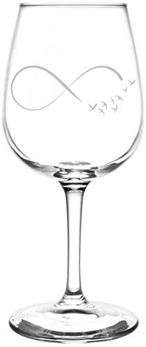 Birds | Ribbon Style Infinity Symbol Inspired - Laser Engraved Libbey Wine Glass.  Full Personalization available!  Fast Free Shipping & 100% Satisfaction Guaranteed.  The Perfect Gift!