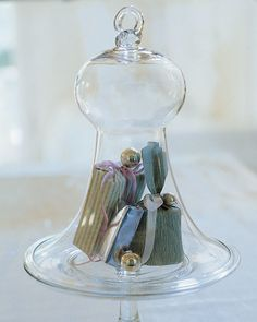 Holiday gifts are trapped beneath Victorian smoke bells in Martha's East Hampton, New York, home.