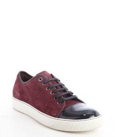 Lanvinbordeaux suede and black leather cap toe sneakers