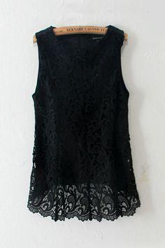 Black Chiffon Lace Blouse ++