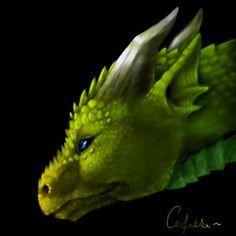 Random green dragon head by ~Cefetke on deviantART