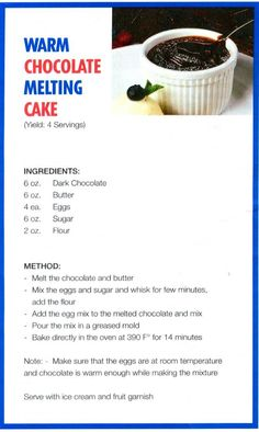 Carnival Cruises Warm Chocolate Melting Cake Recipe