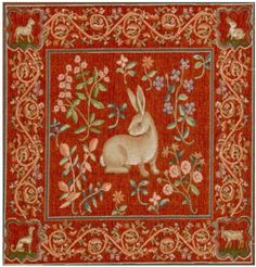 MEDIEVAL RABBIT unfinished panel 48 x .Tapestry cushions are supplied with a velvet backing, a zipper at the bottom and a fibre-filled insert.An unfinished panel is also suitable for picture framing and making up into a firescreen or a footstool. Medieval Tapestry, Medieval Art, Hanging Tapestry, Wall Tapestry, Les Gobelins, Art Chinois, Art Japonais, Rabbit Art, Hare