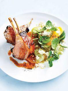 harissa lamb with quinoa, feta, mint and orange salad